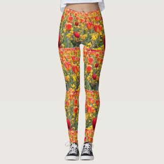 Tulips, Bright and colorful yellow and red Leggings