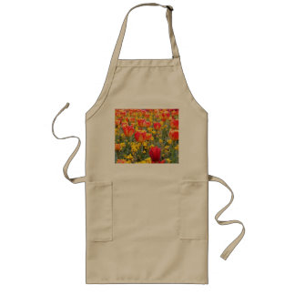 Tulips, Bright and colorful yellow and red Long Apron