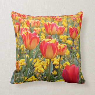 Tulips, Bright and colorful yellow and red Throw Pillow