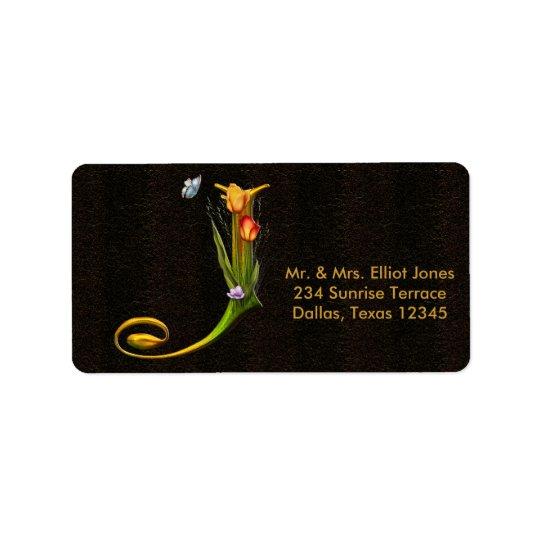 Tulips Butterflies Letter J Monogram Address Label