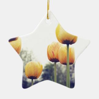tulips ceramic star ornament