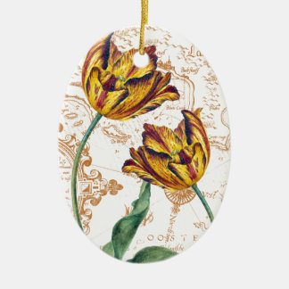 Tulips Chic Ceramic Oval Ornament