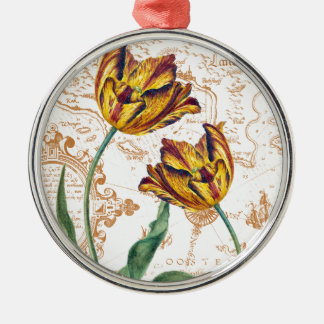 Tulips Chic Silver-Colored Round Ornament