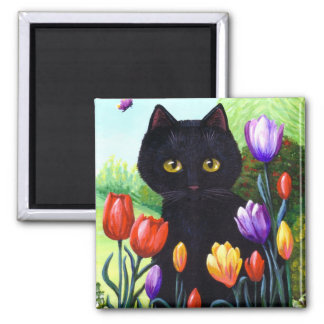 Tulips Cute Black Cat Butterfly Creationarts Square Magnet