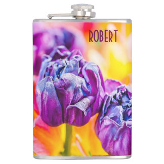 Tulips Enchanting purple Hip Flask