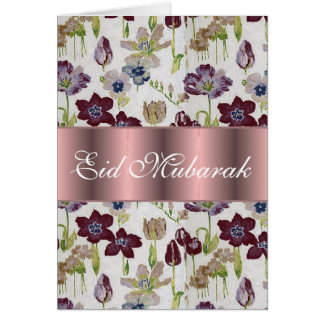 Tulips floral bouquet Eid Mubarak Card