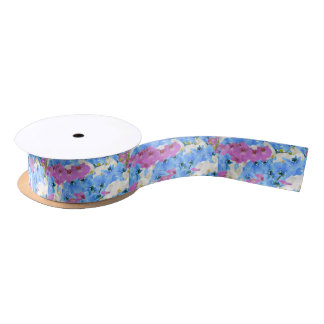 Tulips Floral Colorful Gift Wrapping Satin Ribbon