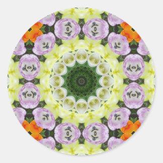 Tulips Flower Mandala, Floral mandala-style Classic Round Sticker
