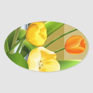 Tulips Flower Spring Vector Picture add text Oval Sticker
