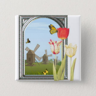 Tulips from Amsterdam 2 Inch Square Button