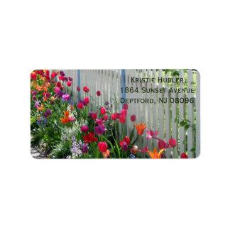 tulips garden photo customizable address label