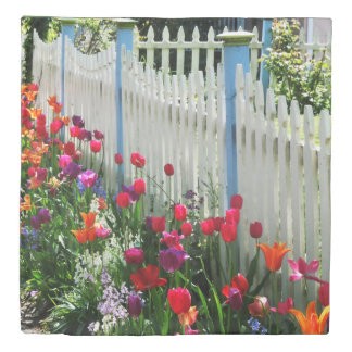 tulips garden white picket fence Cape May NJ photo Duvet Cover