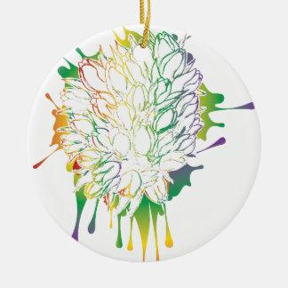 Tulips Grunge Sketch 2 Round Ceramic Ornament