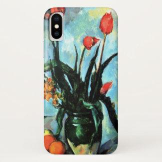 Tulips in a Vase by Paul Cezanne, Vintage Art iPhone X Case
