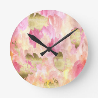 Tulips in gold round clock