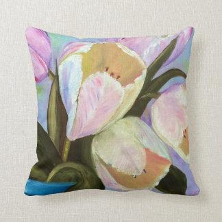 Tulips in pot I Throw Pillow