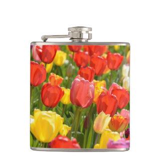 Tulips in the Garden Hip Flask
