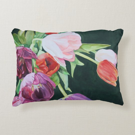 Tulips in Watercolor Throw Pillow