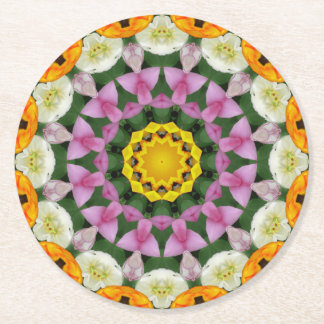 Tulips Nature, Flower-Mandala 002 Round Paper Coaster