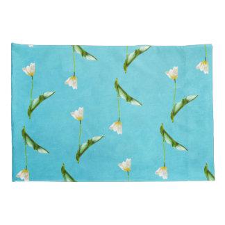 Tulips on aqua blue pillowcase