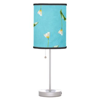 Tulips on aqua blue table lamp