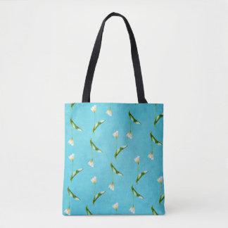 Tulips on aqua blue tote bag