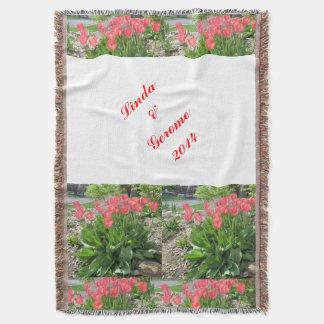 Tulips Personalized Wedding Blanket Throw Blanket