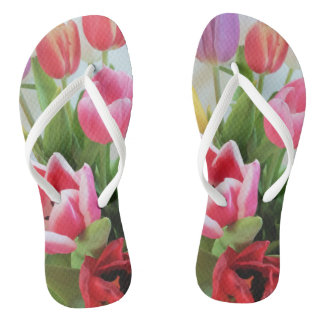 Tulips Pink Green Red Flower Floral Photography Flip Flops