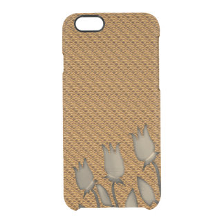 Tulips Silhouettes Golden Waves Pattern Background Clear iPhone 6/6S Case