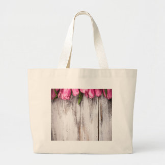 Tulips vintage white painted wood wall bag
