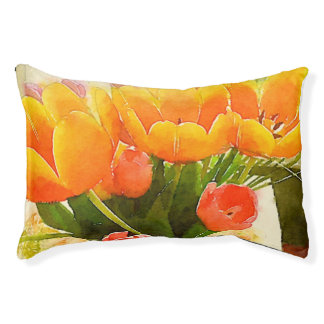 Tulips watercolor dog bed