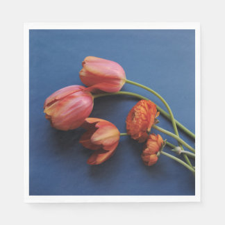 Tulips with ranunculus paper napkin