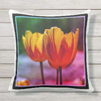 Tulips yellow red_009_q_R5 5.02.w.F Outdoor Pillow