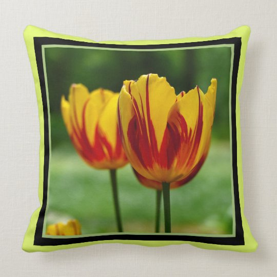 Tulips yellow red_009_q_R5 Throw Pillow