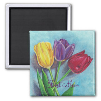 Tulips yellow red violet art Print Magnet