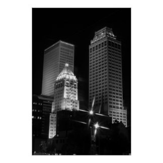 Tulsa After Dark black and white, 2010 Poster
