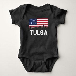 Tulsa OK American Flag Skyline Baby Bodysuit