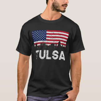 Tulsa OK American Flag Skyline Distressed T-Shirt