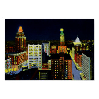 Tulsa Oklahoma City View at Night Poster