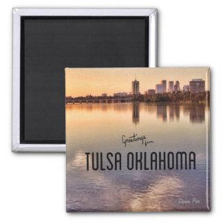 Tulsa Oklahoma Skyline Square Magnet