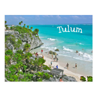 TULUM (Mexico) RUINS ABOVE BEACH AND CARIBBEAN Postcard