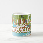 Tulum, mexico travel poster basic white mug