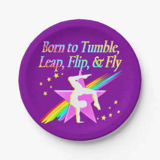 TUMBLING QUEEN GYMNAST GIRL PAPER PLATES