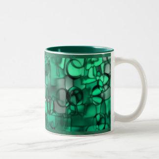 Tumbling Shapes mug in green © Angel Honey, 2009