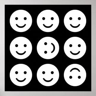 Tumbling Smileys - Black and White Poster