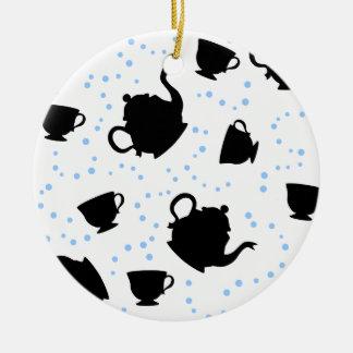 Tumbling Tea Party Round Ceramic Ornament