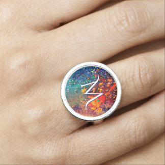 Tumultuous Bling | Monogram Bold Rainbow Splatter Photo Rings
