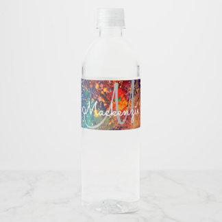 Tumultuous Bright Rainbow Splatter Abstract Water Bottle Label