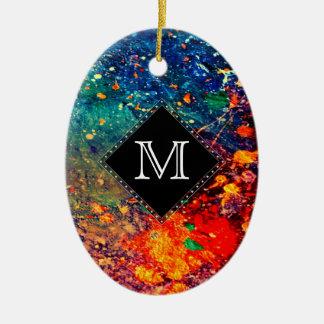 Tumultuous Holiday   Monogram Rainbow Splatter Ceramic Ornament