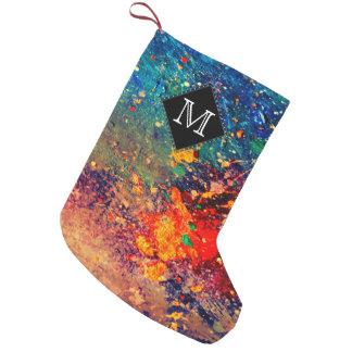 Tumultuous Holiday   Monogram Rainbow Splatter Small Christmas Stocking
